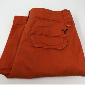 AMERICAN EAGLE ORANGE CARGO SHORTS